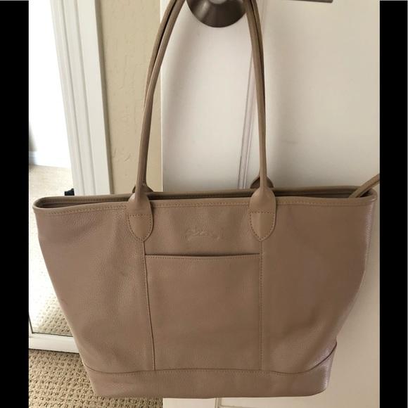 cc1b12837d Longchamp Handbags - Authentic Longchamp Leather Tote Beige